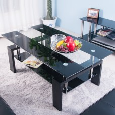 New Tempered Glass Coffee table Style Furniture Modern Glass Tabletops and with Black Wood Legs (Black&Clear)
