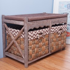 Life Carver Retro Wood Hallway Furniture Basket Storage Bench With 2 See Grass Chest of Drawers Rope Plait Cushion Seat. (2 Basket Seat Chocolate)