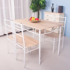 Life Carver 5 Pieces Dining Table and 4 Chairs Set Modern Home Kitchen Furniture Dinning Room Sets(Oak&White)