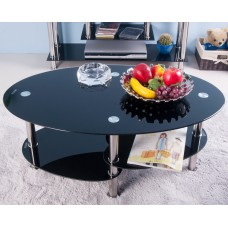 Life Carver Cara Oval Black Glass Coffee Table With Undershelf